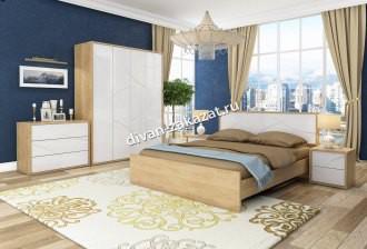 Спальня Мадейра Дуб небраска/Белый глянец