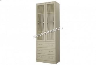 Шкаф со стеклом 2-х дверный с 3 ящиками Дженни СТЛ.127.18