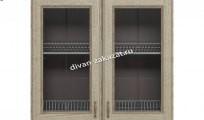 Эмилия шкаф навесной-сушка с 2 витринами